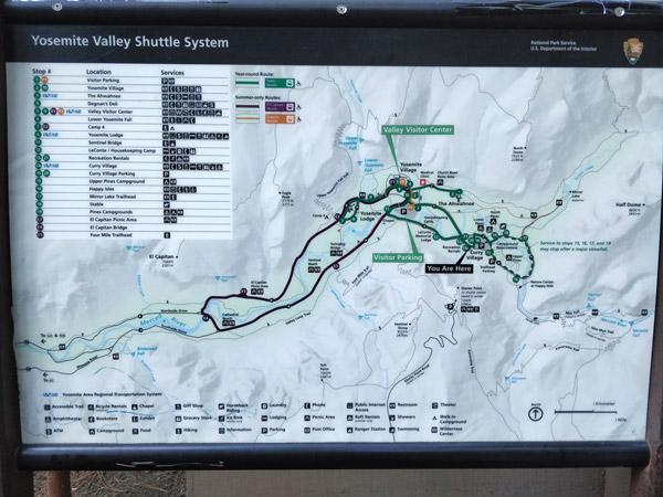 ヨセミテ国立公園の地図