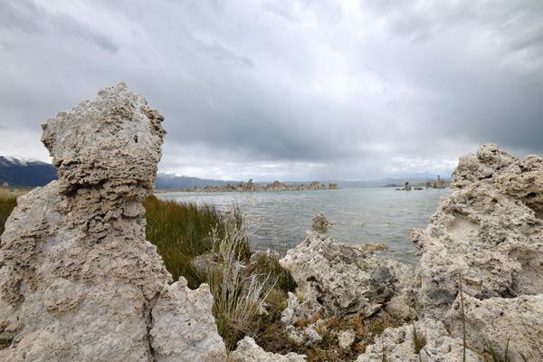 モノ湖で写真撮影