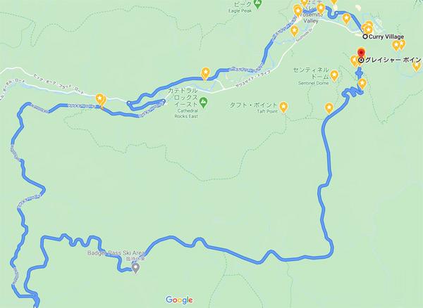ヨセミテ国立公園滞在2日目:前編の移動ルート【車(レンタカー)】