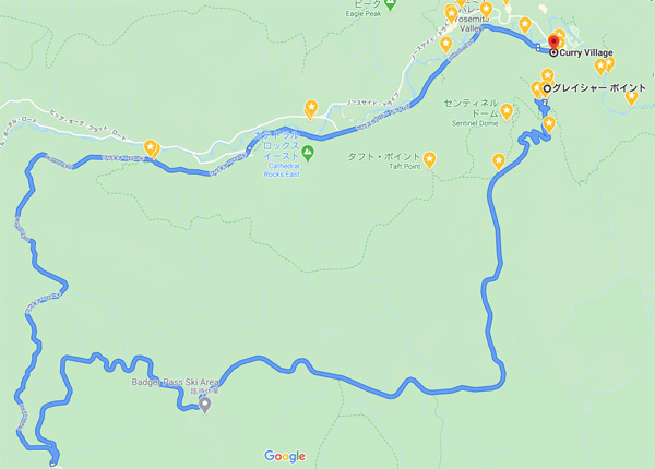 ヨセミテ国立公園滞在2日目:後編の移動ルート【車(レンタカー)】