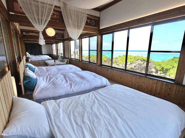 Shima Hotelのおすすめ1:寝室はパノラマオーシャンビュー